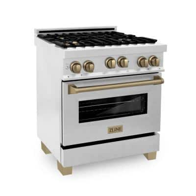 Autograph Edition 30 in. 4 cu. ft. Gas Range with Convection Oven in DuraSnow Finish with Champagne Bronze Accents