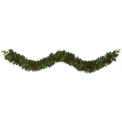 9 ft. Battery Operated Pre-lit Mixed Pine Artificial Christmas Garland with 50 Clear LED Lights, Berries and Pinecones