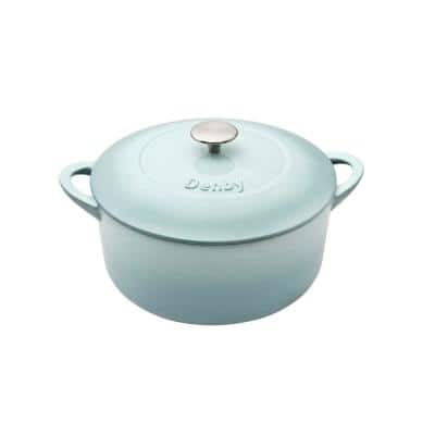 Heritage Pavilion 4 qt. Round Cast Iron Casserole Dish in Blue with Lid