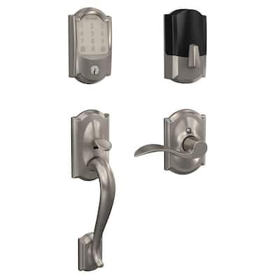 Camelot Encode Smart Wifi Door Lock with Alarm and Accent Lever Handleset in Satin Nickel
