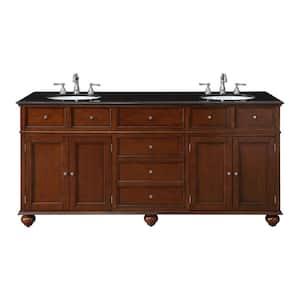 Hampton Harbor 72 in. W x 22 in. D Double Bath Vanity in Sequoia with Granite Vanity Top in Black