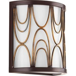 Cirrine Collection 1-Light Antique Bronze Wall Sconce with Etched White Glass