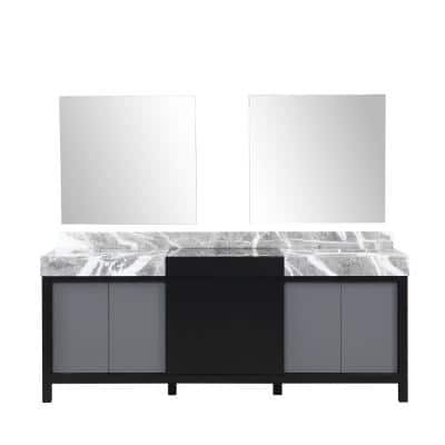 Zilara 84 in. W x 22 in. D x 34 in. H Double Bath Vanity in Black and Gray with Gray Top with White Sink and Mirror