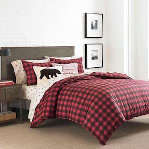 Mountain 2-Piece Scarlet Red Plaid Cotton Twin Comforter Set