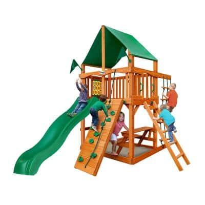 Chateau Tower Playset with Green Vinyl Canopy and Slide