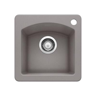 DIAMOND SILGRANIT Granite Composite 15 in. 1-Hole Dual Mount Bar Sink in Metallic Gray