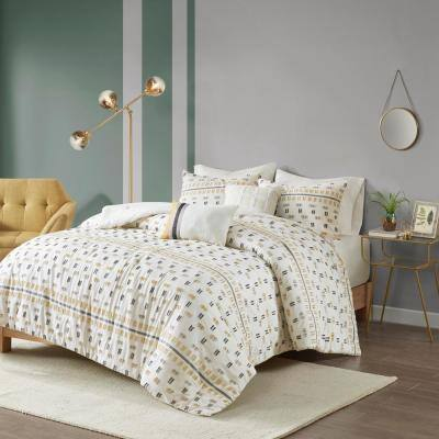 Aidan 5-Piece Yellow Geometric Cotton Full/Queen Jacquard Comforter Set