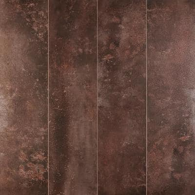 Voyager Polished 12 in. x 48 in. Copper Metal Look Porcelain Field Floor and Wall Tile (11.62 sq. ft. / Case)