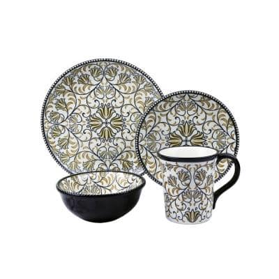 Bimini 16-Piece Casual Shiny Finish Stoneware Dinnerware Set (Service for 4)