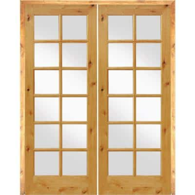 72 in. x 96 in. Rustic Knotty Alder 12-Lite Low E Glass Both Active  Solid Core Wood Double Prehung Interior Door