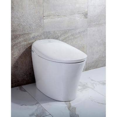 Ginger 1-Piece 1.28 GPF Single Flush Elongated Bidet Toilet in White