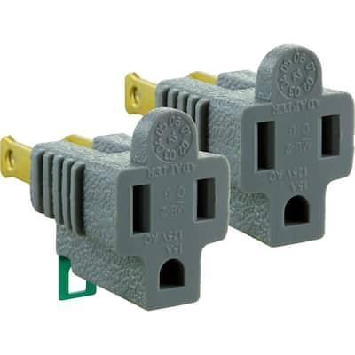 15 Amp 125-Volt Polarized Grounding Plug Adapter - Gray (2-Pack )