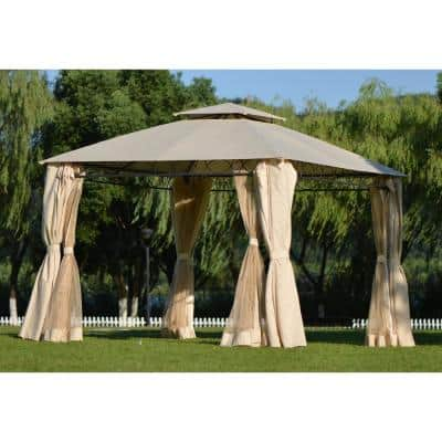 Beige 11 ft. x 11 ft. Double Tiered Grill Gazebo Patio Canopy