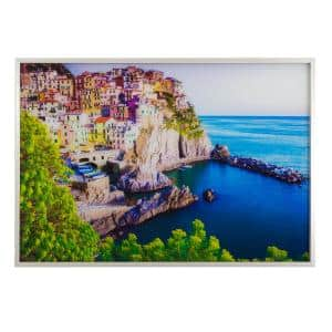 Tempered Glass Series ''Coastal Charm'' Framed Printed Photo Landscape Wall Art 31 in. x 47 in.
