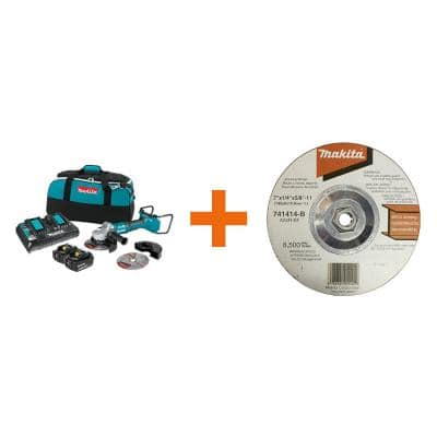18V X2 LXT (36V) Brushless 7 in. Paddle Switch Cut-Off/Angle Grinder Kit 5.0Ah with bonus Hubbed Grinding Wheel, 10/pk