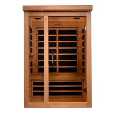 2-Person Infrared Sauna with Hemlock Wood, 6 Carbon Heaters, Chromotherapy and MP3 Connection