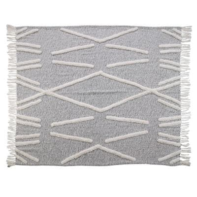 Abstract Zigzag Black Melange Pure Cotton Decorative Throw Blanket