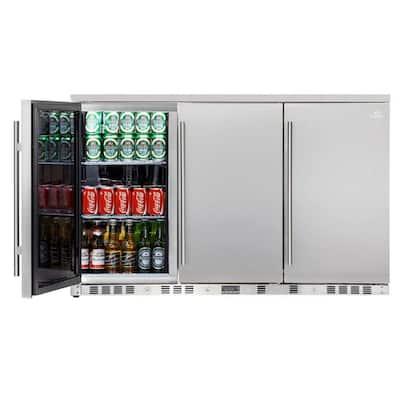 Single Zone 52.6 in. 260 (12 oz.) 3-Door Solid Stainless Steel Beverage Can Cooler