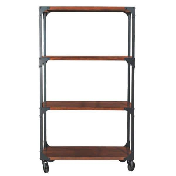 Home Decorators Collection 62.75 in. Black/Brown Metal 3-shelf Etagere Bookcase with Open Back | The Home Depot