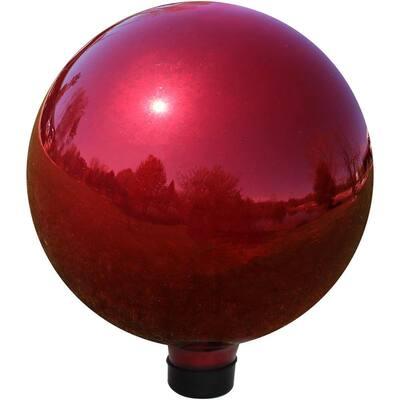 Mirrored Garden 10 in. Gazing Ball Yard Decor Red