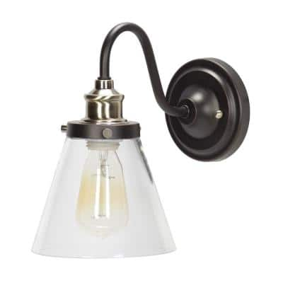 Jackson 1-Light Oil Rubbed Bronze and Antique Brass Wall Sconce Light with Clear Glass Shade
