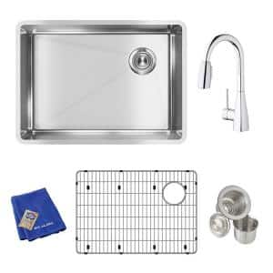 Crosstown Undermount Stainless Steel 26 in. Single Bowl Kitchen Sink with Faucet, Bottom Grid, and Drain