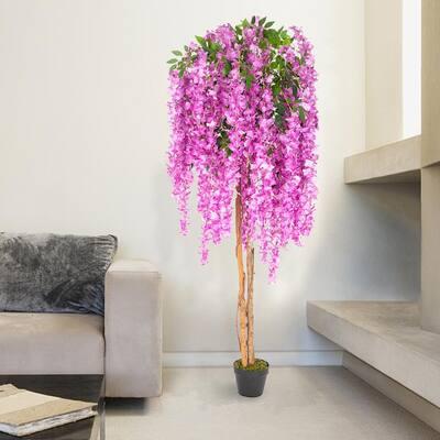 6 ft. Purple Artificial Wisteria Flower Plant Tree UV Resistant