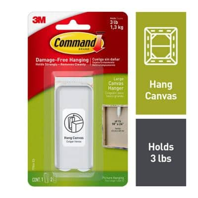 Large White Canvas Picture Hanger (1-Canvas Hanger) (2-Adhesive Strips)