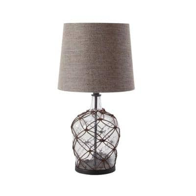29 in. x 15 in. Brown Modern Rattan Cage Design Lighting Table Lamp with Linen Drum Shade