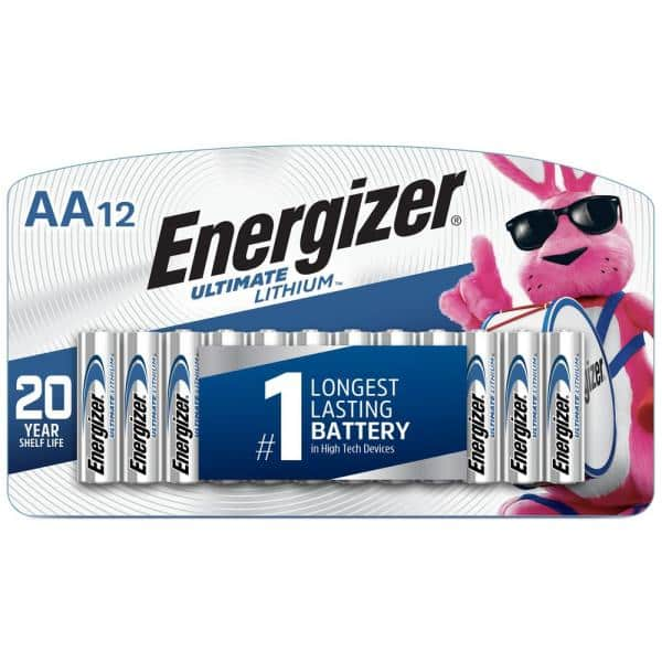 Energizer Aa Ultimate Lithium Battery 12 Pack L91sbp 12 The Home Depot