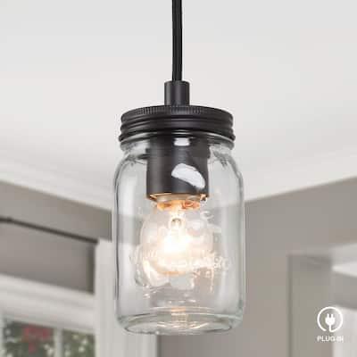 Mina Industrial 1-Light Blackened Bronze Plug-In Mini Single Glass Pendant Hanging Light with Mason Jar Glass Shade