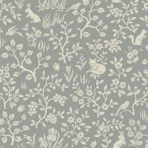 Fox & Hare Gray Animal Print Paper Pre-Pasted Strippable Wallpaper Roll (Covers 56 Sq. Ft.)