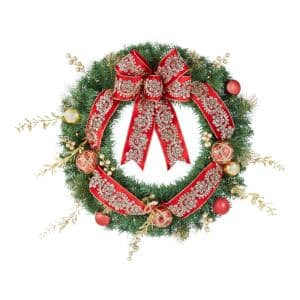 30 in. Royal Easton Battery Operated Pine LED Pre-Lit Artificial Christmas Wreath with Timer