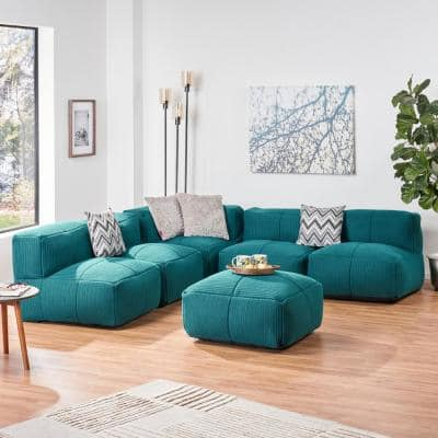 Markham 6-Piece Teal Fabric Sectional