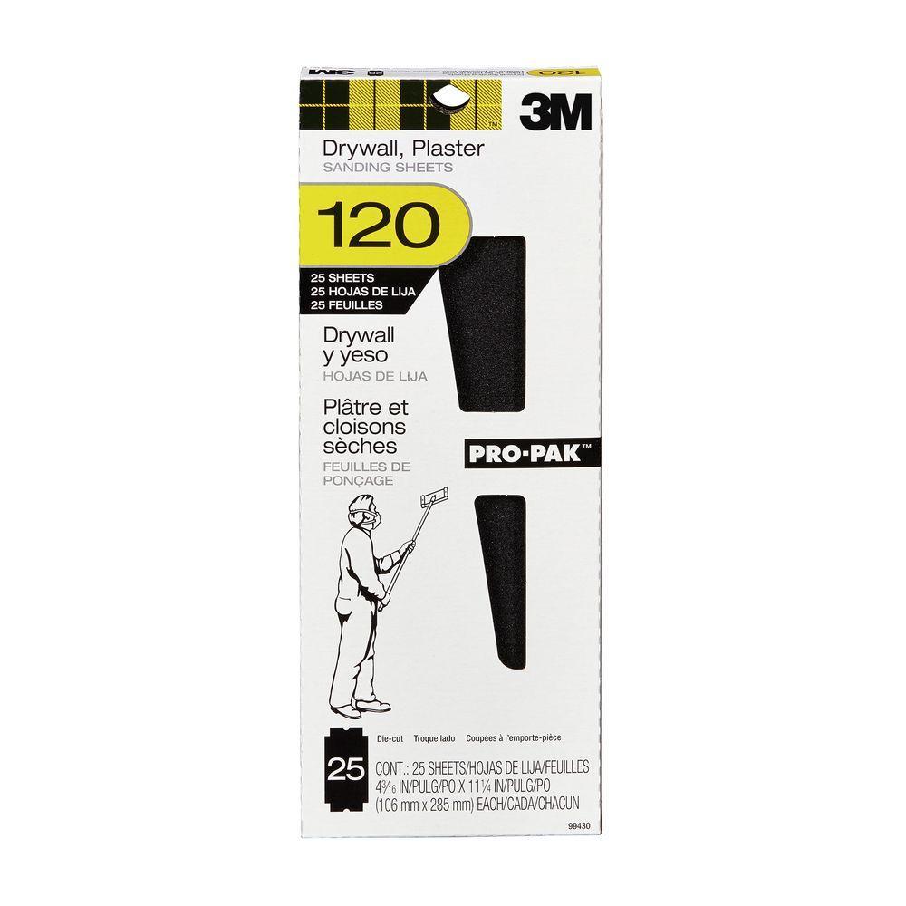 Pro-Pak 4-3/16 in. x 11-1/4 in. 120 Grit Fine Drywall Sanding Sheet (25-Pack)