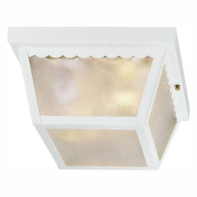 White 2-Light Outdoor Flush Mount