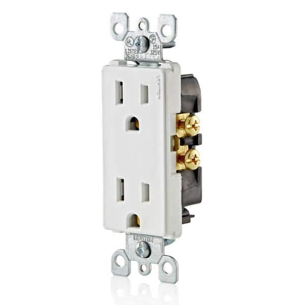 Leviton Decora 15 Amp Residential Grade Grounding Duplex Outlet White 10 Pack M24 05325 Wmp The Home Depot