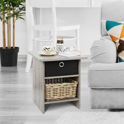 Home Living Bin Drawer French Oak Grey Nightstand