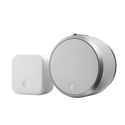 Smart Lock Pro Silver with Connect Wi-Fi Bridge
