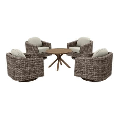 Avondale 5-Piece Swivel Aluminum Wicker Outdoor Patio Conversation Set with Sunbrella Cast Ash Cushions