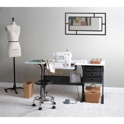 Eclipse Collection: 60.25 in. W x 23.75 in. D PB Craft Sewing Table with 3 Storage Drawers in White with Black Frame