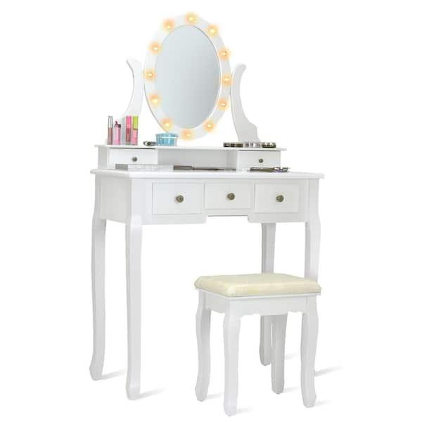 Costway White Wood Vanity Set Makeup, Lighted Makeup Vanity Mirror Canada