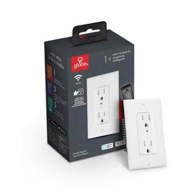 Wi-Fi Smart Receptacle, No Hub Required, Voice Activated, 2 Grounded Outlets, Child-Safe Tamper Resistant Shock Guards