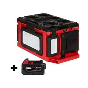 M18 18-Volt Lithium-Ion Cordless PACKOUT 3000 Lumens LED Light with Built-In Charger with (1) 5.0 Ah Battery