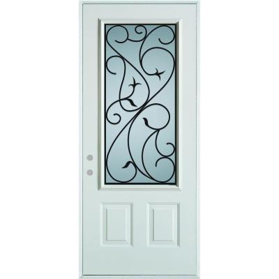 36 in. x 80 in. Silkscreened Glass 3/4 Lite 2-Panel Painted White Right-Hand Inswing Steel Prehung Front Door