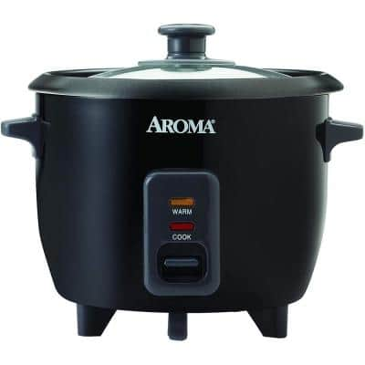 6-Cup Black Rice Cooker with Removable Steam Tray