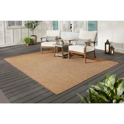 Solid Tan 5 ft. 3 in. x 7 ft. Indoor/Outdoor Area Rug