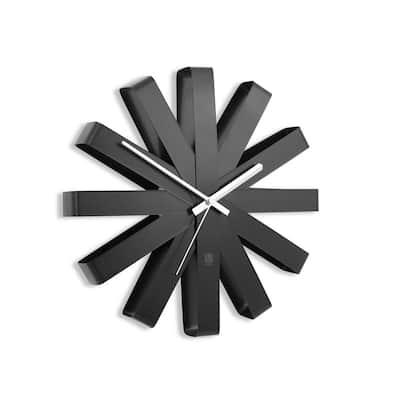 Ribbon 12 in. Black Wall Clock