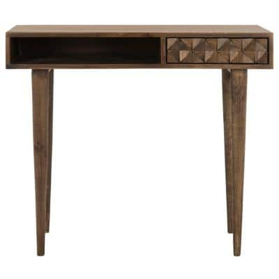 35 in. Rectangular Walnut 1 Drawer Writing Desk with Built-In Storage