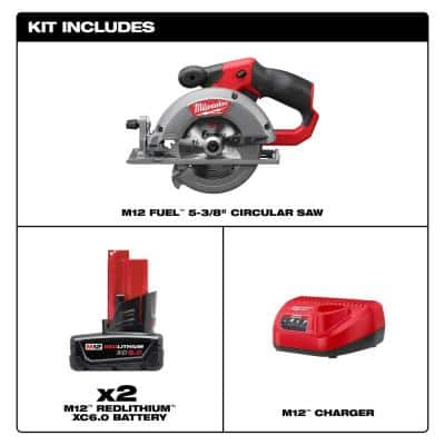 M12 FUEL 12-Volt Li-Ion Brushless Cordless 5-3/8 in. Circular Saw and Blade with Two M12 6.0 Ah Battery Packs & Charger